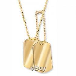 SOLID 9 Carat yellow gold Double Dogtag / Dog Tag with 2mm Ball Chain