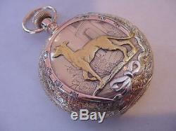 SPECTACULAR 14K SOLID GOLD DIAMONDS MULTICOLOR 1897 ELGIN HUNTER with DOG! WOW