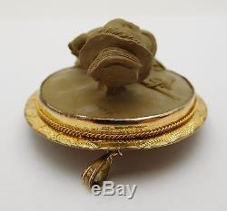 STUNNING Gold Filled / 3D Lava Cameo Ladies Brooch Pin HIGH RELIEF Woman & Dog