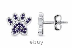 Simulated Alexandrite Dog Paw Print Stud Earrings 10K Solid Gold