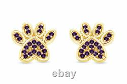 Simulated Amethyst Dog Paw Print Stud Earrings 10K Solid Gold