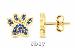 Simulated Blue Sapphire Dog Paw Print Stud Earrings 10K Solid Gold