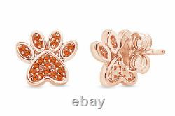 Simulated Citrine Dog Paw Print Stud Earrings 10K Solid Gold
