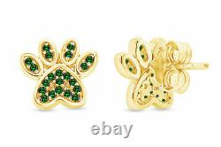 Simulated Emerald Dog Paw Print Stud Earrings 10K Solid Gold