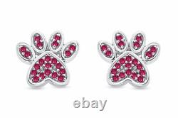 Simulated Ruby Dog Paw Print Stud Earrings 10K Solid Gold