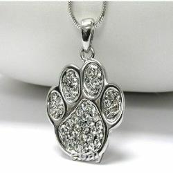 Solid 10K Real White Gold Certified 0.22ct Diamond Dog & Cat Beautiful Pendant