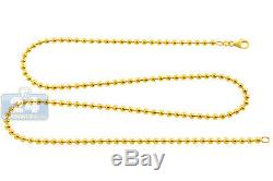 Solid 10K Yellow Gold Army Ball Bead Mens ID Dog Tag Chain 3 mm 22 inches