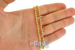 Solid 10K Yellow Gold Army Ball Bead Mens ID Dog Tag Chain 3 mm 26 inches