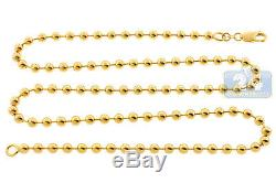Solid 10K Yellow Gold Army Ball Bead Mens ID Dog Tag Chain 5 mm 28 inches