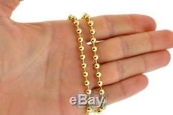 Solid 10K Yellow Gold Army Ball Bead Mens ID Dog Tag Chain 5 mm 30 inches