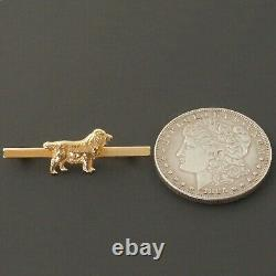 Solid 10K Yellow Gold, Detailed English Springer Spaniel Dog Pin, Brooch