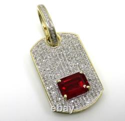 Solid 10K Yellow Gold Over Ice Ruby Diamond Out Dog Tag Pendant Charm 1.99 CT
