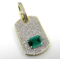 Solid 10K Yellow Gold Plated Emerald Green Sapphire Dog Tag Pendant Charm 1.99CT