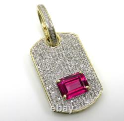 Solid 10K Yellow Gold Plated Emerald Pink Sapphire Dog Tag Pendant Charm 1.99 CT