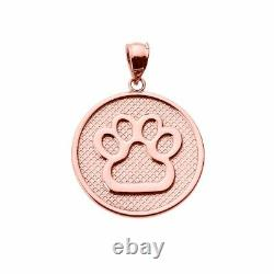 Solid 10k Rose Gold Bear Dog Paw Print Disc Pendant Necklace