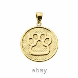 Solid 10k Yellow Gold Bear Dog Paw Print Disc Pendant Necklace