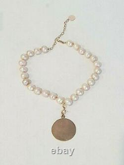 Solid 14K ROSE GOLD PINK PEARL Dog/ Cat/ PET Necklace. PEARL Pet Collar