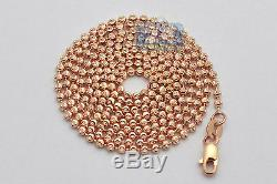 Solid 14K Rose Gold Army Moon Cut Bead Ball Mens Dog Tag Chain 1.8 mm 20 Inches