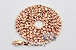Solid 14K Rose Gold Army Moon Cut Bead Ball Mens Dog Tag Chain 2.5 mm 24 Inches