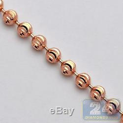 Solid 14K Rose Gold Army Moon Cut Bead Ball Mens Dog Tag Chain 2 mm 32 Inches