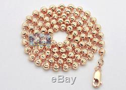 Solid 14K Rose Gold Army Moon Cut Bead Ball Mens Dog Tag Chain 5 mm 24 Inches