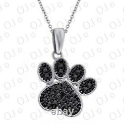 Solid 14K White Gold 0.14 Ct Black Real Diamond Paw Print Pendant Necklace