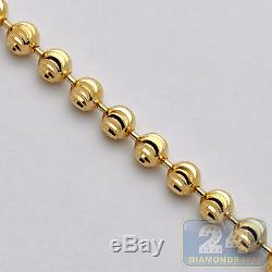 Solid 14K Yellow Gold Army Moon Cut Ball Mens Dog Tag Chain 1.8 mm 20 Inches
