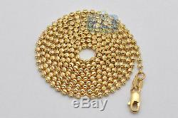 Solid 14K Yellow Gold Army Moon Cut Ball Mens Dog Tag Chain 1.8 mm 28 Inches