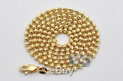 Solid 14K Yellow Gold Army Moon Cut Ball Mens Dog Tag Chain 2.5 mm 30 Inches