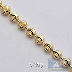 Solid 14K Yellow Gold Army Moon Cut Bead Ball Mens Dog Tag Chain 5 mm 32 Inches