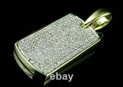 Solid 14K Yellow Gold Over 1.00Ct Round Cut D/VVS1 Diamond Dog Tag Shape Pendant