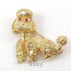 Solid 14K Yellow Gold Pink Ruby Eyes 3D Poodle Dog Pet Pin Brooch
