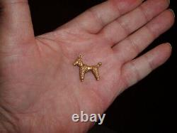 Solid 14K yellow gold POODLE DOG CHARM FOR BRACELET OR Pendant FOR NECKLACE 7Grs