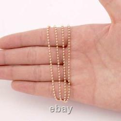 Solid 14k Rose Gold 2mm Ball Beaded Dog Tag Chain Necklace 20 22 24 26 28