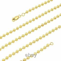 Solid 14k Yellow Gold 4mm Ball Beaded Dog Tag Chain Necklace 24