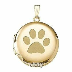 Solid 14k Yellow Gold Dogs Paw Print Picture Locket 3/4 X 3/4 & 1 X 1
