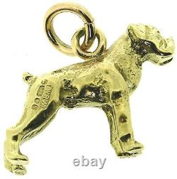 Solid 9Carat 9ct yellow gold boxer dog charm full body standing pendant