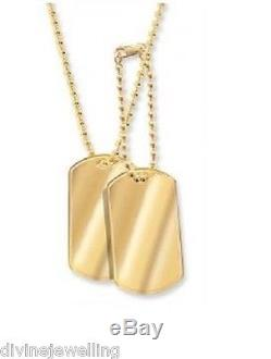 Solid 9ct Yellow Gold Double Dog Tag 2mm Ball Chain FREE ENGRAVING