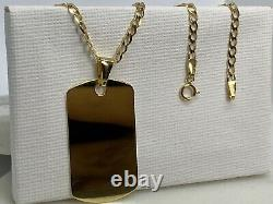 Solid Genuine 9ct Yellow Gold Mens Dog Tag Neclace&Pendant 20 Free Engraving