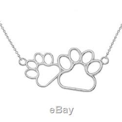 Solid Gold 14K Dog Paw Outline Necklace in Gold (YellowithRose/White)