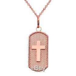 Solid Gold Cross Dog Tag Pendant Necklace