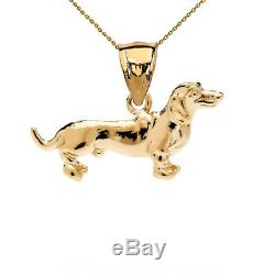 Solid Gold Dachshund Pendant Necklace In (YellowithRose/White)