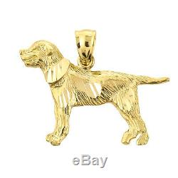 Solid Gold Diamond-Cut Greater Swiss Mountain Dog Pendant Made in USA