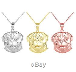 Solid Gold Dog Pug Face Detailed Pendant Necklace