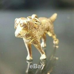 Solid Gold Labrador Dog Gold Charm, Hallmarked, Free Insured shipping #CL