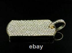 Solid Men's 3.85Ct Round Pave Diamond Dog Tag Pendant Charm 14k Yellow Gold Over