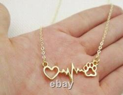 Solid Metal Women's Heartbeat With Dog Paw Pendant Necklace 14K Yellow Gold Over