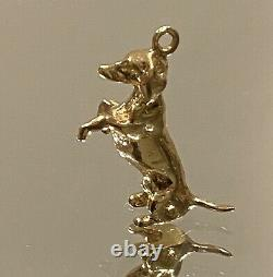 Solid Vintage 14K Yellow Gold Dachshund Puppy Dog Charm Pendant 4.8 Grams