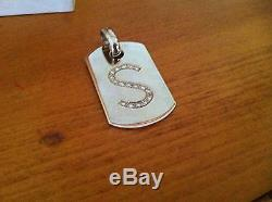 Solid White Gold And Diamond Letter S Dog Tag
