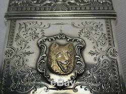 Super Rare Large 19c Whiting Sterling Silver & Solid Gold Dog Cameo Card Case
